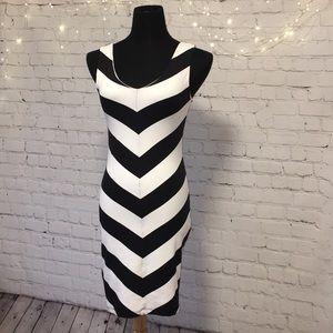 Bebe Black & White Chevron Bodycon Dress